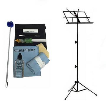 Custom Charlie Parker Paramount Series Baritone Saxophone Care & Cleaning Kit w/Black Music Stand