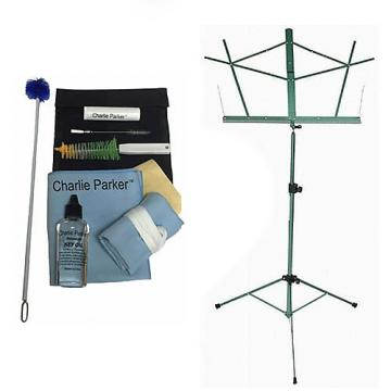 Custom Charlie Parker Paramount Series Tenor Saxophone Care & Cleaning Kit w/Green Music Stand