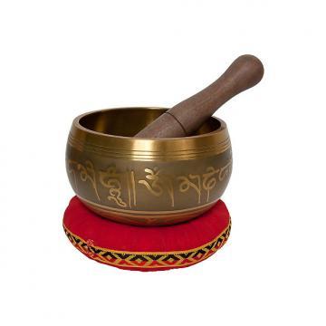 """Custom DOBANI 4.25"""" Singing Bowl Panchaloha Decorated Buddha Mallet and Cushion"""