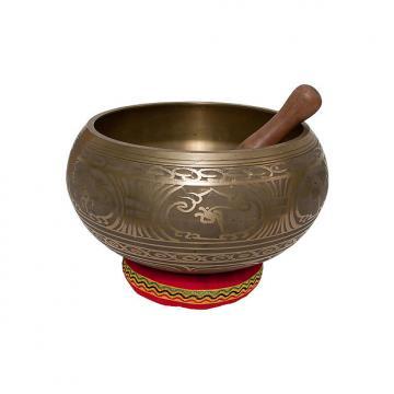 """Custom DOBANI 7.5"""" Singing Bowl Decorated Mallet and Cushion"""