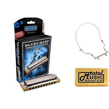 Custom HOHNER Blues Harp MS Harmonica Key G#, Made in Germany, Includes Case & Harmonica Holder, 532BL-G# PACK