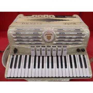 Custom Palmer Hughes  Titano Super deluxe Grand Electric Accordion  1950's Pearl White