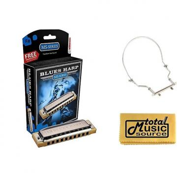 Custom HOHNER Blues Harp MS Harmonica Key F#, Made in Germany, Case & Harmonica Holder, 532BL-F# PACK