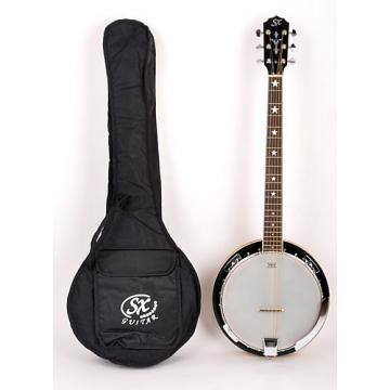 Custom SX Country 6-String Banjo Left Handed with Closed Back and Carry Bag Nat