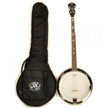 Custom SX Country 5-String Banjo Left Handed with Closed Back and Carry Bag
