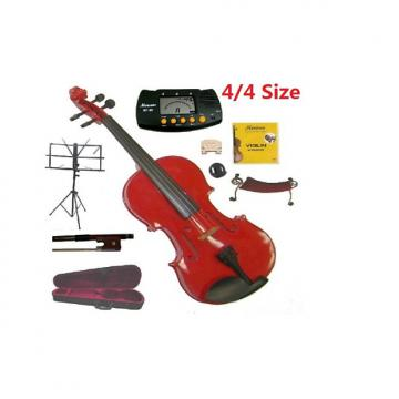 Custom Merano 4/4 Full Size Red Student Violin with Case and Bow+Extra Set of Strings, Extra Bridge, Should