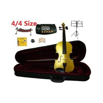 Custom Merano 4/4 Full Size Yellow Student Violin with Case and Bow+Extra Set of Strings, Extra Bridge,