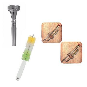 Custom Dizzy Gillespie Trumpet Mouthpiece w/Trumpet Valve Casing Brush + Music Coaster 2 Pack