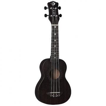 Custom Luna Guitars UKE VMS BKS Vintage Mahogany Soprano Ukulele Black Satin