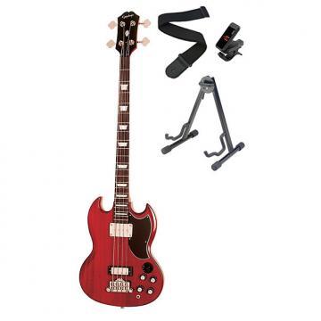 Custom Epiphone EB-3 Model Bass Guitar Cherry and Accessories Bundle