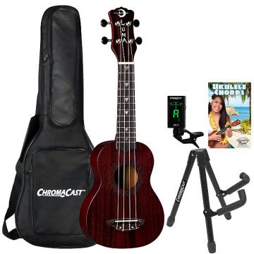 Custom Luna Vintage Mahogany Red Satin Soprano Ukulele with ChromaCast Accessories