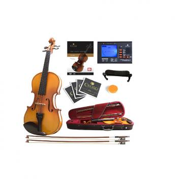 Custom Mendini Size 3/4 MV400 Ebony Fitted Solid Wood Violin with Tuner, Lesson Book, 2 Bows, Shoulder Rest
