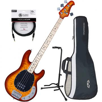 Custom Sterling by Music Man RAY34QM Honeyburst 4 String Bass w/ Gig Bag, Stand, and Cable