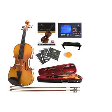 Custom Mendini Full Size 4/4 MV400 Ebony Fitted Solid Wood Violin with Tuner, Lesson Book, 2 Bows, Shoulder