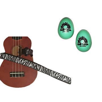 Custom Deluxe Ukulele Strap - White Zebra Strap w/Bonus Pair of Rhythm Egg Shakers - Green