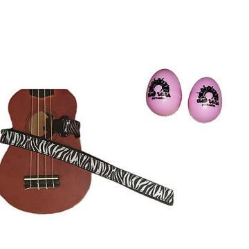 Custom Deluxe Ukulele Strap - White Zebra Strap w/Bonus Pair of Rhythm Egg Shakers - Pink
