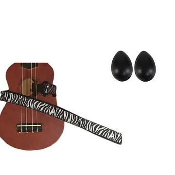 Custom Deluxe Ukulele Strap - White Zebra Strap w/Bonus Pair of Rhythm Egg Shakers - Black