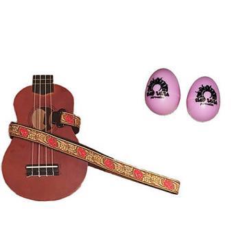 Custom Deluxe Ukulele Strap - Desert Rose Red Strap w/Bonus Pair of Rhythm Egg Shakers - Pink