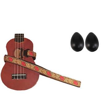 Custom Deluxe Ukulele Strap - Desert Rose Red Strap w/Bonus Pair of Rhythm Egg Shakers - Black