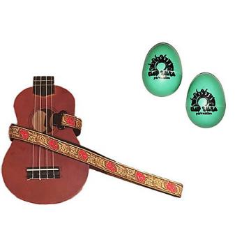 Custom Deluxe Ukulele Strap - Desert Rose Red Strap w/Bonus Pair of Rhythm Egg Shakers - Green