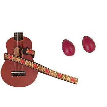 Custom Deluxe Ukulele Strap - Desert Rose Red Strap w/Bonus Pair of Rhythm Egg Shakers - Red