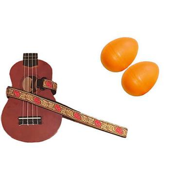 Custom Deluxe Ukulele Strap - Desert Rose Red Strap w/Bonus Pair of Rhythm Egg Shakers - Orange