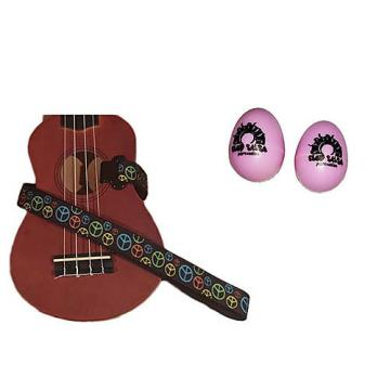 Custom Deluxe Ukulele Strap - Peace Sign Neon Strap w/Bonus Pair of Rhythm Egg Shakers - Pink