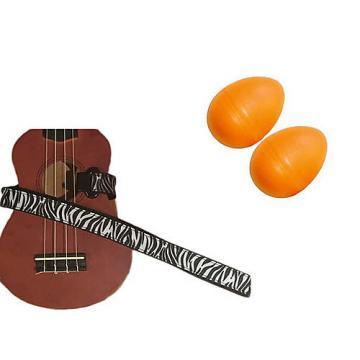 Custom Deluxe Ukulele Strap - White Zebra Strap w/Bonus Pair of Rhythm Egg Shakers - Orange