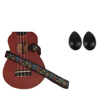 Custom Deluxe Ukulele Strap - Peace Sign Neon Strap w/Bonus Pair of Rhythm Egg Shakers - Black