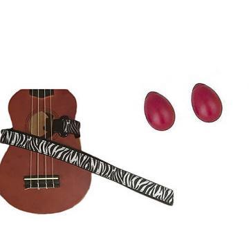Custom Deluxe Ukulele Strap - White Zebra Strap w/Bonus Pair of Rhythm Egg Shakers - Red