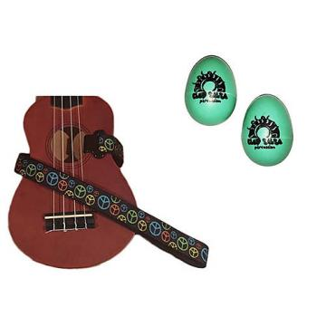 Custom Deluxe Ukulele Strap - Peace Sign Neon Strap w/Bonus Pair of Rhythm Egg Shakers - Green