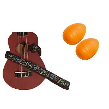 Custom Deluxe Ukulele Strap - Peace Sign Neon Strap w/Bonus Pair of Rhythm Egg Shakers - Orange