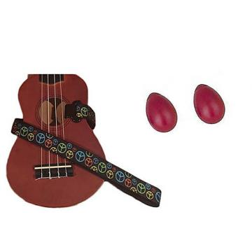 Custom Deluxe Ukulele Strap - Peace Sign Neon Strap w/Bonus Pair of Rhythm Egg Shakers - Red