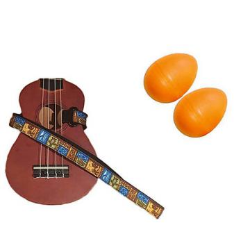 Custom Deluxe Ukulele Strap - Tiki Hawaiian Strap w/Bonus Pair of Rhythm Egg Shakers - Orange