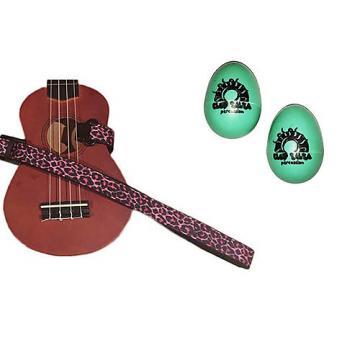 Custom Deluxe Ukulele Strap - Pink Leopard Strap w/Bonus Pair of Rhythm Egg Shakers - Green