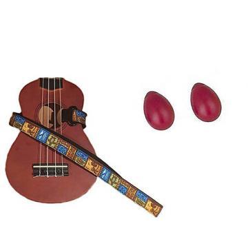 Custom Deluxe Ukulele Strap - Tiki Hawaiian Strap w/Bonus Pair of Rhythm Egg Shakers - Red