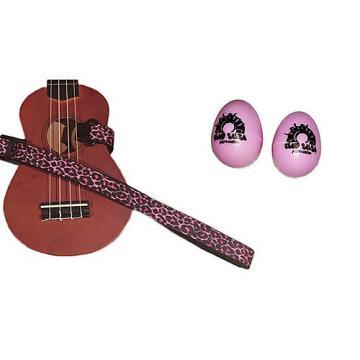 Custom Deluxe Ukulele Strap - Pink Leopard Strap w/Bonus Pair of Rhythm Egg Shakers - Pink