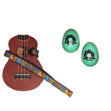 Custom Deluxe Ukulele Strap - Tiki Hawaiian Strap w/Bonus Pair of Rhythm Egg Shakers - Green