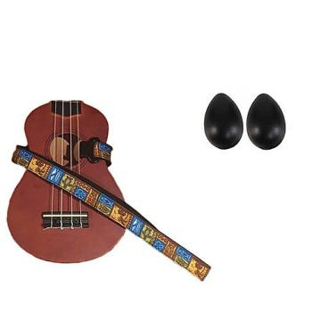 Custom Deluxe Ukulele Strap - Tiki Hawaiian Strap w/Bonus Pair of Rhythm Egg Shakers - Black