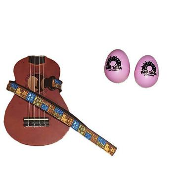 Custom Deluxe Ukulele Strap - Tiki Hawaiian Strap w/Bonus Pair of Rhythm Egg Shakers - Pink