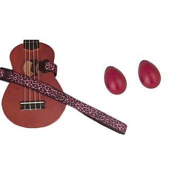 Custom Deluxe Ukulele Strap - Pink Leopard Strap w/Bonus Pair of Rhythm Egg Shakers - Red