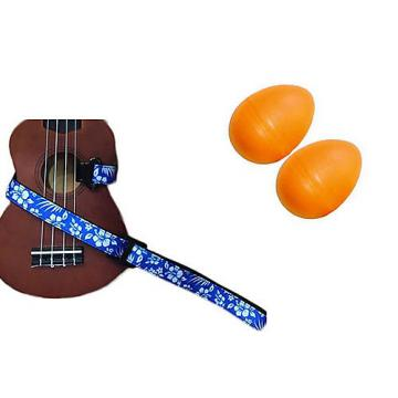 Custom Deluxe Ukulele Strap - Hawaiian Flower Blue w/Bonus Pair of Rhythm Egg Shakers - Orange