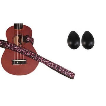 Custom Deluxe Ukulele Strap - Pink Leopard Strap w/Bonus Pair of Rhythm Egg Shakers - Black