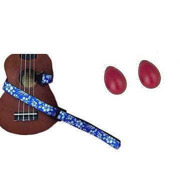 Custom Deluxe Ukulele Strap - Hawaiian Flower Blue w/Bonus Pair of Rhythm Egg Shakers - Red