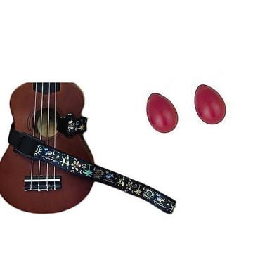 Custom Deluxe Ukulele Strap - Hawaiian Surfer Strap w/Bonus Pair of Rhythm Egg Shakers - Red