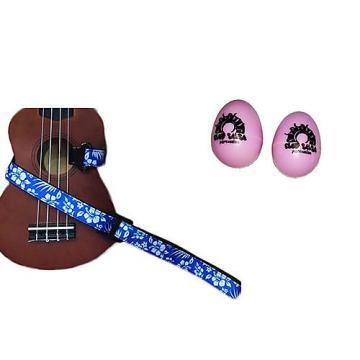 Custom Deluxe Ukulele Strap - Hawaiian Flower Blue w/Bonus Pair of Rhythm Egg Shakers - Pink