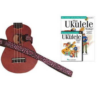 Custom Deluxe Ukulele Strap - Pink Leopard Strap w/Bonus Play Ukulele Today Book CD DVD Pack