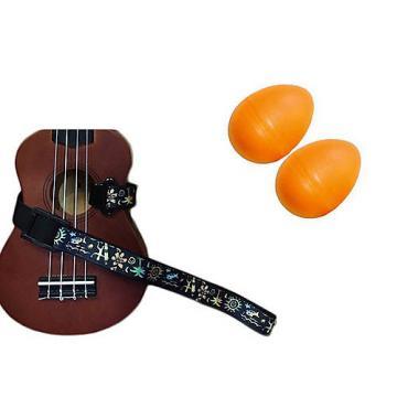 Custom Deluxe Ukulele Strap - Hawaiian Surfer Strap w/Bonus Pair of Rhythm Egg Shakers - Orange