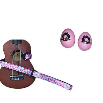 Custom Deluxe Ukulele Strap - Hawaiian Flower Pink w/Bonus Pair of Rhythm Egg Shakers - Pink