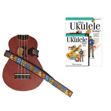 Custom Deluxe Ukulele Strap - Tiki Hawaiian Strap w/Bonus Play Ukulele Today Book CD DVD Pack
